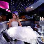 bride in a wedding limo