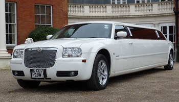 White Chrysler Limo Hire London Herts and Essex