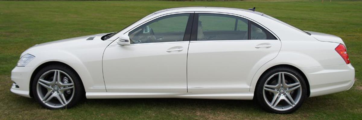 White Mercedes S Class 1